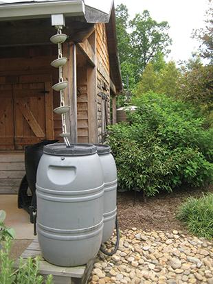 Figure 1 Rain Barrel Using A Rain Chain In Place Of A
